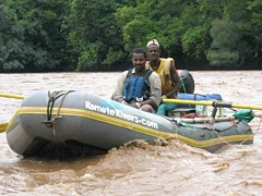Rafting on Omo River in Ethipia with River Guide Johannes